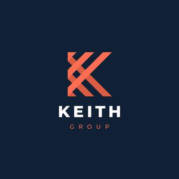 Letter K logo template. Unique modern creative elegant logotype. Vector icon.