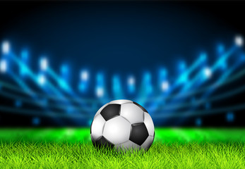 Realistic 3D Soccer ball on the grass football field with bright stadium lights. Football Arena. Vector illustration for soccer, sport game, football, championship, gameplay.Sport background concept.
