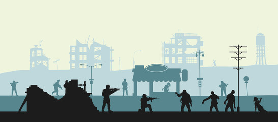 Zombie apocalypse scene. Silhouettes of soldiers and dead peoples. Military landscape. Undead in city. Nightmare monsters