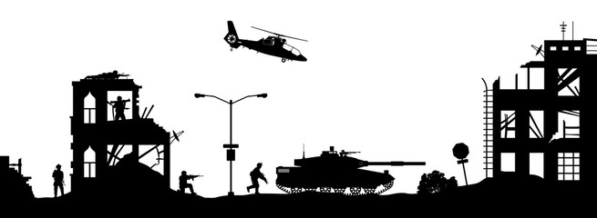 Black military silhouettes on white background. Soldiers assault house with terrorists. Scene of combat in broken city. War panorama