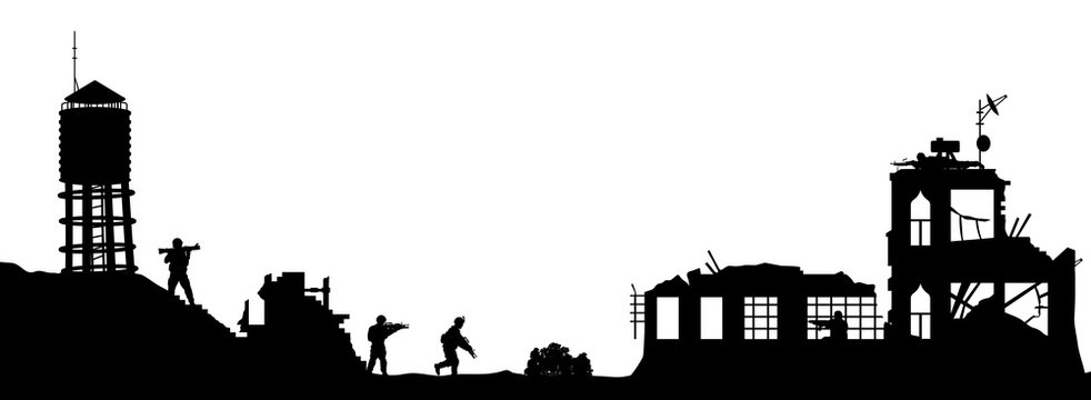 Black military silhouettes on white background. Soldiers assault house with terrorists. Scene of broken city. War panorama