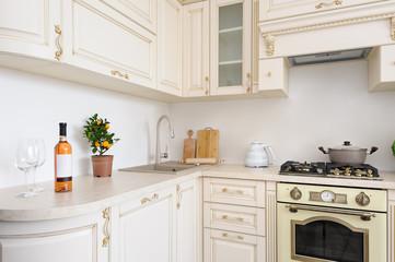Modern beige colored luxury kitchen
