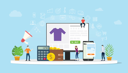 e-commerce online shopping with people buy with website interface cart icon with money calculator and apps invoice - vector