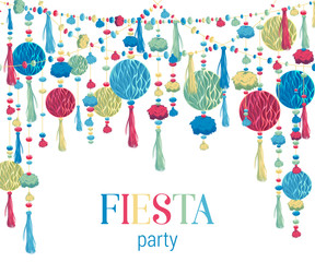 Fiesta party. Festive background with paper honeycomb, pompons, tassels, beads, garland. Design template for invitation, greeting card, banner, print.  Colorful decorations. Vector illustration