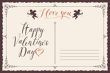 Retro valentine card in form of postcard with inscriptions and cupids. Romantic vector card in retro style with place for text, inscriptions I love you and Happy Valentine's day