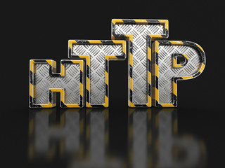 Metal http text. Image with clipping path.