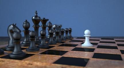 Schachfigur Konzept Mut und Machtdemonstration