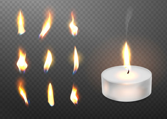Burning realistic 3d candle light and different flame of a candle icon set closeup isolated on transparent background. Tea candle or candle in a case. Vector illustration.