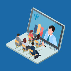 Online education or business training isometric vector concept. Education and training with technology, study learning illustration
