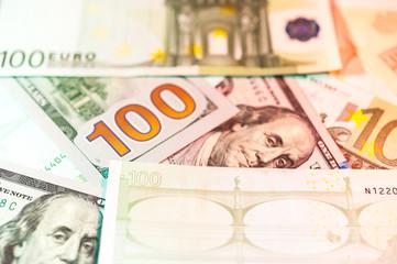 Dollars and euro bills background. Close up cash money.