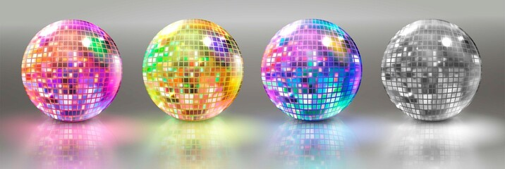 Set of disco balls. Vector illustration.