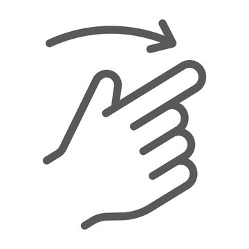 Flick right line icon, finger and hand, gesture sign, vector graphics, a linear pattern on a white background.