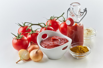 Ingredients for making tasty spicy tomato sauce