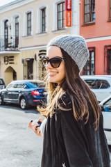 beautiful brunette girl in sunglasses
