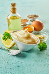 Ingredients for making gourmet homemade mayonnaise
