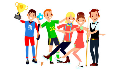 Athlete Set Vector. Man, Woman. Hockey, Handball, Figure Skating, Snooker. Group Of Sports People In Uniform, Apparel. Sportsman Character In Game Action. Flat Cartoon Illustration