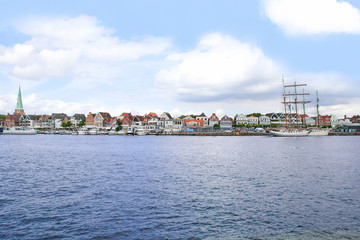 Travemuende, panoramic view from river Trave, Germany