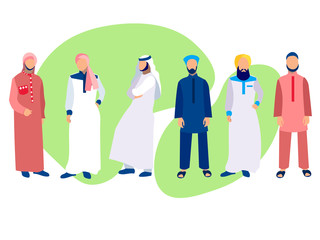 Set of six men, a group of Arabs in national dress. In minimalist style. Cartoon flat Vector
