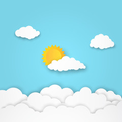 Cloudscape, clouds and sun with blue sky background, paper art style