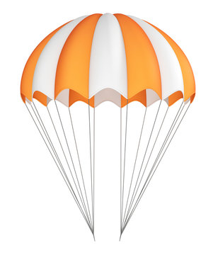 Parachute, orange with white, striped. 3d illustration isolated on white