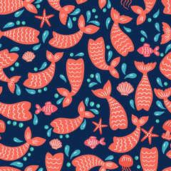 Seamless pattern with mermaid tails, starfishes, jellyfishes, shells. Color nursery background.