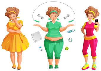 Fat woman weignt loss. Fitness and diet is path to health and beauty
