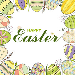 Colorful Happy Easter greeting card with Easter eggs and text. Easter background. Hand drawn vector illustration