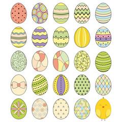 Easter eggs Vector illustration. Set of color