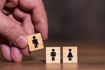 Konzeptbild drei Geschlechter, Mann Frau und divers, unbestimmtes Geschlecht