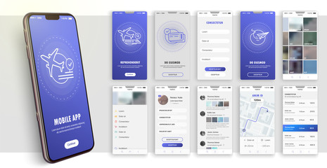 Fototapeta Design of the mobile application, UI, UX. A set of GUI screens with login and password input. Travel and ticketing , rating and statistics settings and payment screens. obraz