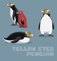 Yellow-eyed Penguin Cartoon Vector Illustration