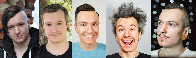 the image of one guy in different images, hairstyles, in clothes and in different periods of life