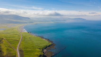 Aerial view of Road at Coast of West land in Iceland, Summertime, Travel Destinations Concept