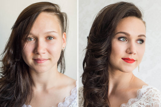 Woman before and after makeup. Real result without retouching. The concept of transformation, beauty after applying makeup with a makeup artist