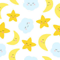Cute sleeping and smiling little star, moon, and seamless pattern.