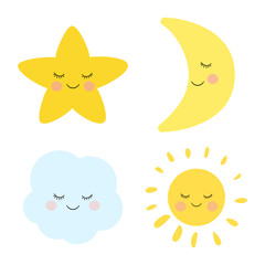 Cute sleeping and smiling little star, moon, cloud and sun. Adorable childish art.