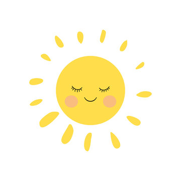 Cute sleeping and smiling little sun character with pink cheeks and funny lashes. Simple