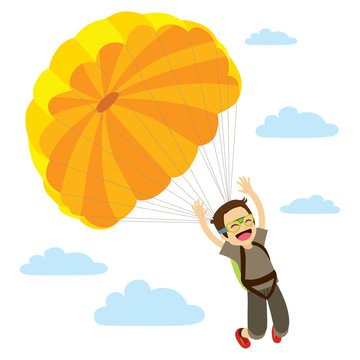 Skydiver Man Descending Happy