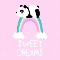 Cartoon panda and rainbow, vector print