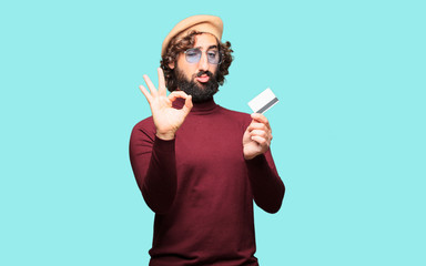 French artist with a beret with a credit card