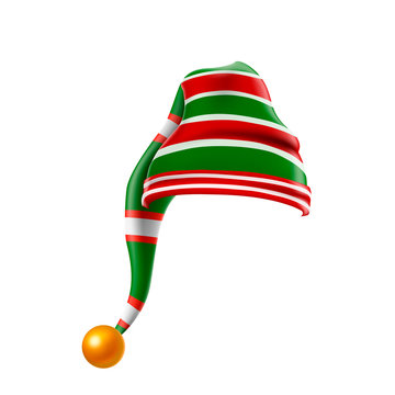 Christmas holiday hat.3D, funky red and green stripped cartoon christmas  elf hat isolated, kids elf hat icon or label