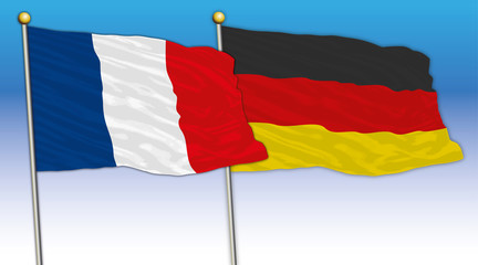France and Germany flags, vector illustration