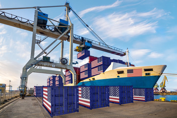 Unloading of containers in the port. Containers with the flag of the USA. Concept of American export-imort.3d illustration