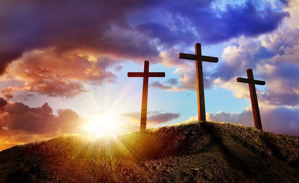 Crucifixion Of Jesus Christ At Sunrise - Three Crosses On Hill. The illustration contains 3d elements.