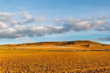 Tierras de cultivo de secano, loma y cielo azul con nubes. Comarca de Los Oteros.