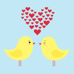 simple card illustration of two funny cartoon chickens in love