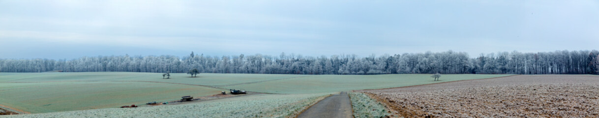 panoramic winter landscape in rural area in Idstein