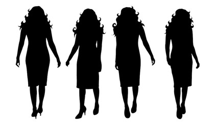 Vector silhouette of set of woman on white background.
