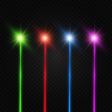 Set of abstract colors laser beam. Transparent is isolated on a black background. Vector illustration.
