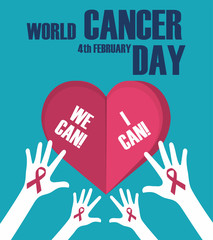 World cancer day concept. World cancer day banner, We can I can. Vector illustration